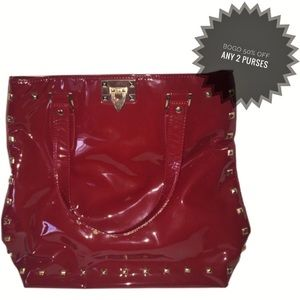 Charming Charlie | Red Stud Patent Leather Purse